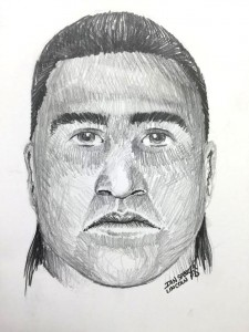 Police artist sketch of one of two suspects in an armed home invasion on Century Mill Road. Sketch courtesy of Lincoln Police Department.