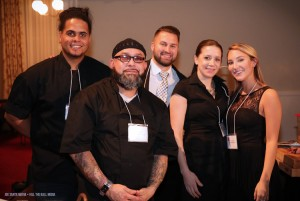 Members of the The International's team that helped Chef William Nemeroff feed 1000 people and win the championship. From left to right: Nestor Garcia, Rene Marty, Paulie Chlebecek, Liz Zadroga and Kelsey Benoit.                                                                                         Courtesy Joe Santa Maria • Kill the Ball Media
