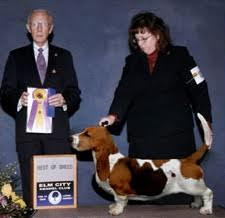 Bolton's Anne Testoni with a prize-winning basset hound