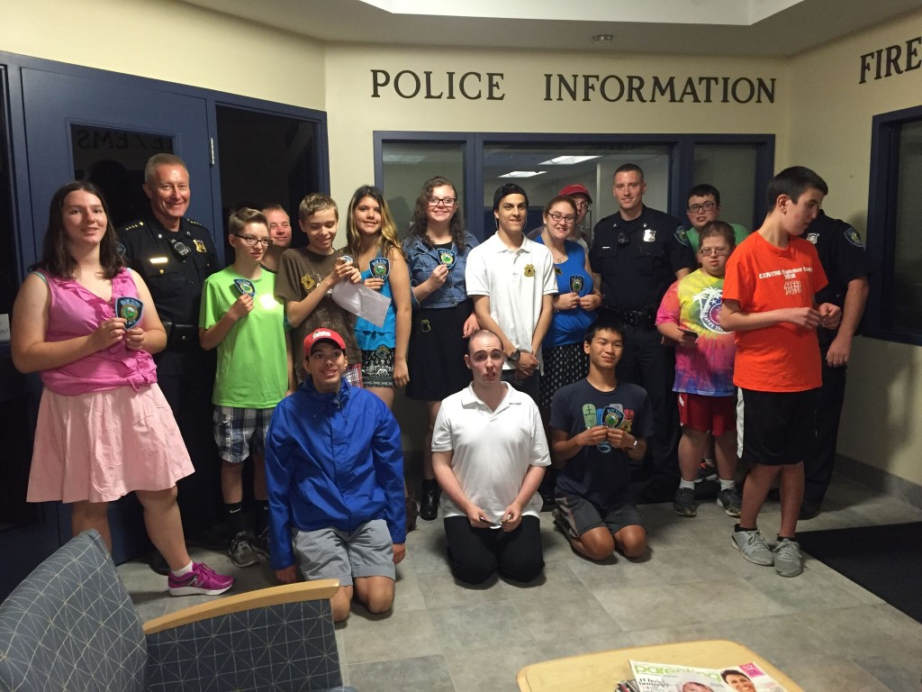Nashoba students with officers at the Bolton Police Station.  Courtesy Photo