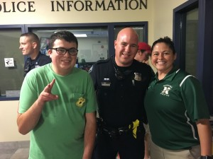 Bolton's Zachary Murphy (far left) with Bolton Officer Jonathan Couture and Tania Rich.  Courtesy photo